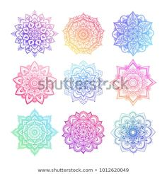 set of round gradient mandala on white isolated background. vector hipster mandala in green red blue violet and pink colors. mandala with floral patterns. Mandala Art, Colorful Mandala Tattoo, Design Mandala, Mandala Drawing, Watercolor Mandala, Mandala Wallpaper, Wallpaper Backgrounds, White Stock Image, Aesthetic Backgrounds