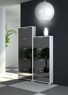 Double Modern Shoe Rack With Folding Mirrored Doors Storage Other Metro Thebathoutlet