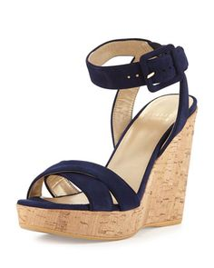 Annex Suede Wedge Sandal, Nice Blue by Stuart Weitzman at Neiman Marcus.