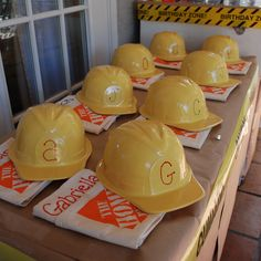 Construction Birthday Party - Cute idea for the kids. Especially for the messier parts of the party. They could take it home along with their party favors I make. Construction Birthday Parties, Construction Party, 5th Birthday Party Ideas, Birthday Fun, Third Birthday, Tool Party, Belts, Birthdays, Freshman Orientation
