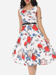 #AdoreWe #FashionMia Skater Dresses - FashionMia Floral Printed Round Neck Skater Dress - AdoreWe.com