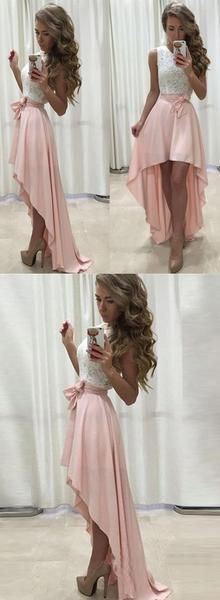 Sexy High Low White Lace Top Homecoming Prom Dress with Pink Skirt,#711062