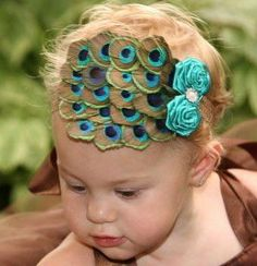 Baby Couture Peacock Headbands  Headband, finished back for comfort, band SUPER soft, for everyday wear, ONE size fits most! All headbands are handmade with high quality materials, all made to order. /$19.99