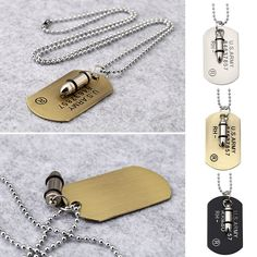 Army Tag Bullet Pendant Necklace Fashion Men Punk Ornaments Christmas Gifts