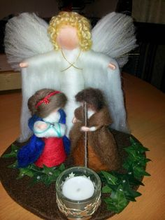 Inges Elfenwelt: Weihnachtskrippe gefilzt Christmas Crafts, Christmas Ornaments, Felting, Holiday Decor, Blog, Ideas, Christmas Nativity Set, Great Love, Elves