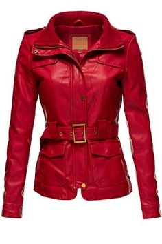 Belted Babydoll Faux Leather Trenchy Coat Jackets,065-Red...