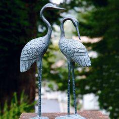 Crane mantel sculpture