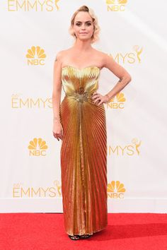 The 26 Best Dresses From The Emmys #refinery29  http://www.refinery29.com/2014/08/73361/emmys-2014-best-dressed-red-carpet-celebrities#slide4  A girl after our own heart, Taryn Manning opted for a vintage dress on Emmy night. And, the exquisite combination of her golden hair and golden dress was nothing short of heavenly. Pennsatucky would approve...we think.