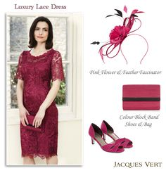 Jacques Vert Occasion Wear Rose Pink Lace Dress with Sheer Short Sleeves. New Autumn Winter 2014/2015 collection