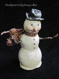 Primitive OOAK Folk Art Snowman 4.5 Tall Artist by Thumbprintart