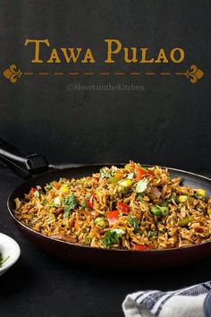 Tawa Pulao is a famous Mumbai street food. Its a spicy vegetarian rice dish made on large flat griddle called Tawa. Its the same Tawa th. Rice Recipes, Indian Food Recipes, Asian Recipes, Cooking Recipes, Andhra Recipes, Gujarati Recipes, Cooking Tips, Vegetarian Rice Dishes, Vegetarian Recipes