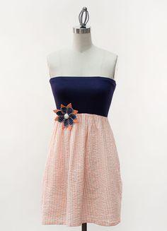 Navy tube top with orange seersucker skirt