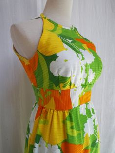 1970s MOD LUAU Malia Hawaii cotton picque maxi by LuxLoveVintage, $195.00