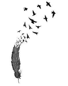 symbolic tattoo pattern idea – feather and birds  tatoo  http://tattooforideas.com/wp-content/uploads/2018/01/idee-de-modele-tatouage-symbolique-plume-et-oiseaux.jpg