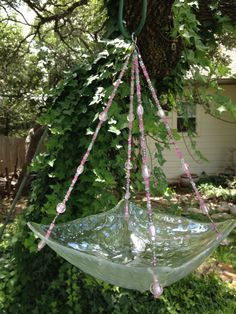 Handmade Clear Glass feeder or planter with by HappyChickCreations, $23.00
