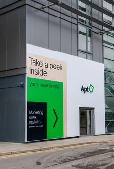 Apt - Silver Winner - 2018 London Design Awards Web Banner Design, Backdrop Design, Wayfinding Signage, Signage Design, Environmental Graphics, Environmental Design, Industrial Signage, Hoarding Design, Property Branding