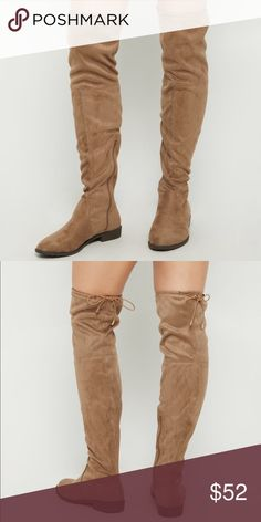 Taupe Over The Knee Boots   MAKE A OFFER Treat the streets like your personal runway in these over the knee boots! Made with soft faux suede, they feature a fashion tie at the back of the thigh for the ultimate impression.  By Yoki Height: 24.5 Zip side Non-skid sole Man-made materials Imported  Make A OFFER & BUNDLE to save Shoes Over the Knee Boots