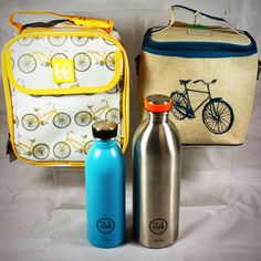 Pack a delicious lunch with these fun Bike themed Lunch Bags! Perfect for kids and adults these insulated lunch bag will help keep your food fresh until you're ready for them! The 24Bottles water bottles are perfect for keeping your beverages cool!