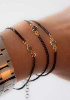 Raw Diamond friendship bracelet by vivien frank designs. Adjustable #womans fashion #bracelets #jewelry