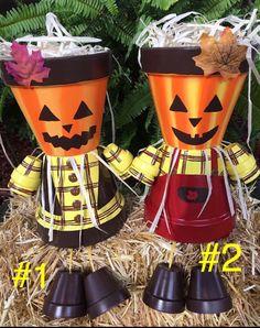 FALL PUMPKIN Decoration, Pumpkin, Pumpkins, Pumpkin Flower Pot People,  Harvest, Fall Decor, Scarecrow Pot Person, Clay Pot People Planters