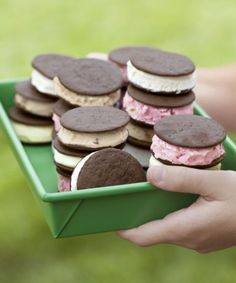 Use crisp, store-bought wafers to whip up delicious ice-cream sandwiches in a jiffy. Make them with homemade lemonsicle ice cream for an especially summery treat. Click through for more easy summer desserts.