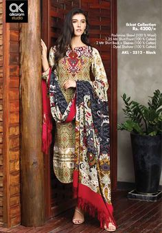AKL 2512 - Black Rs. 4200/- Pashmina Shawl (100 % Wool) 1.25 Mtr Shirt Front (100 % Cotton) 2 Mtr Shirt Back + Sleeves (100 % Cotton) Dyed Shalwar (100 % Cotton)  www.alkaramstudio.com
