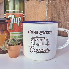 Fun and Retro Home Sweet Camper Enamel Camping Mug