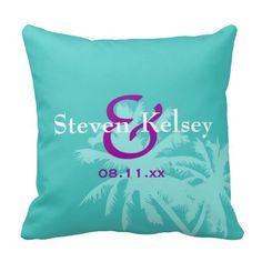 Aqua Palms Custom Wedding Pillow