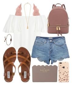 Charlotte Russe, Valentino, Steve Madden, Kate Spade and Kendra Scott ♡ I have to have those shorts! Mode Outfits, Trendy Outfits, Fashion Outfits, Womens Fashion, White Girl Outfits, Shorts Outfits For Teens, Fashion Trends, Fashion Ideas, Lazy Outfits