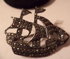 VINTAGE MARCASITE FIGURAL SCHOONER SAILING SHIP  PIN