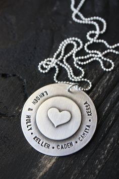 Hand Stamped Jewelry Beautiful Custom Large Soldered Sterling Silver Heart Keepsake Necklace Valentines. $48.00, via Etsy.