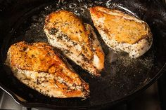 Chicken Breasts Best seared chicken breasts recipe. This looks totally simple and doable and great for defrosted frozen chicken breasts. Fast and easy!
