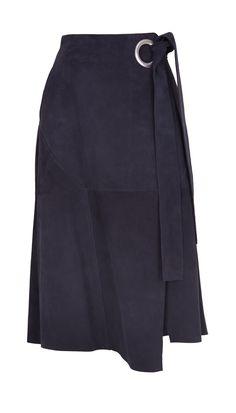 Tibi - Suede Wrap Skirt