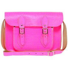 "Cambridge Satchel Company Exclusive To Asos 11"" Pink Fluro Cracked... ($182) ❤ liked on Polyvore"