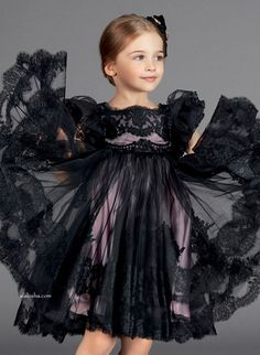 Must Have of the Day: Iconic Dolce & Gabbana black couture lace dress gown for little doll Trendy Fashion, Boho Fashion, Kids Fashion, Fashion Dresses, Fashion Design, Dolce And Gabbana Kids, Little Doll, Kind Mode, Baby Dress