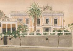 Houses in Greek painting - Yiannis Tsarouchis-NJH Studio Greek Paintings, Painter, Illustration, Painting, Art
