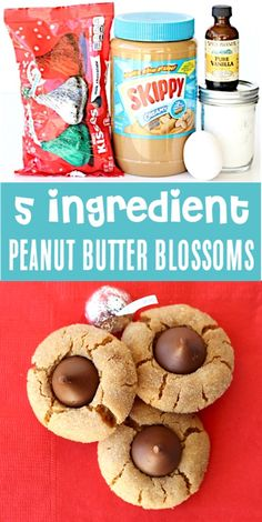 Peanut Butter Cookies Recipe with Kisses! Peanut Butter Cookies Recipe with Kisses! Easy 5 Ingredients Hershey Kiss Cookie… it's always the hit of the party, and they'll disappear as fast as you can make them! Go grab the recipe and give it a try! Easy Christmas Cookie Recipes, Easy Cookie Recipes, Christmas Baking, Christmas Treats, Keto Recipes, Oreo Cake Pops, Peanut Butter Blossom Cookies, Peanut Butter Cookie Recipe, Butter Recipe