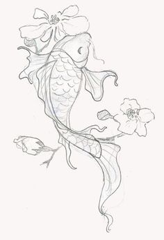 Japanese Dragon Koi Fish Tattoo Designs, Drawings and Outlines. The inspirational best red and blue koi tattoos for on your sleeve, arm or thigh. drawing 110 Best Japanese Koi Fish Tattoo Designs and Drawings - Piercings Models Japanese Koi Fish Tattoo, Koi Fish Drawing, Fish Drawings, Pencil Art Drawings, Tattoo Drawings, Drawing Sketches, Drawing Ideas, Japanese Tattoos, Art Tattoos