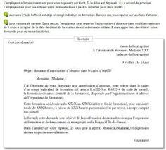 Lettre d'autorisation d'absence pour formation continue avec le CIF, 4 mois avant le début