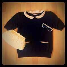 """Peterpan collared sweater Adorable """"new girl """" style sweater top. Sleeves have two layers. I believe the modern version of shoulder pad. See pics. Recommend for a size 10 A wear Tops"""