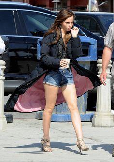 Emma Watson sexy legs in denim cutoffs and strappy high heels