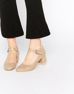 Image 1 ofDaisy Street Gold Mary Jane Heel Shoes