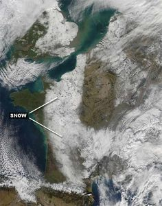Europe was stuck in a frigid, snowy pattern from late January through the first part of February in 2012. We've seen the amazing images of the snow from ground level. However, we can use satellite imagery to see snowcover on the ground when skies are clear enough. Highlighted on the image above is the snowcover over France on February 11, 2012. (Image, information credit: NASA/GSFC modis.gsfc.nasa.gov
