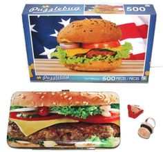 Fake Food Bundle Hamburger & Fries Adjustable Ring Pocketbook and Puzzle