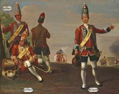Grenadiers, 16th and 17th Regiments of Foot, and Grenadier and Drummer, 18th Royal Irish Regiment of Foot, 1751
