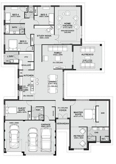 Floor Plan Friday: 5 bedroom entertainer - more counters in the kitchen and take out the bathroom between bedrooms 4 and 5