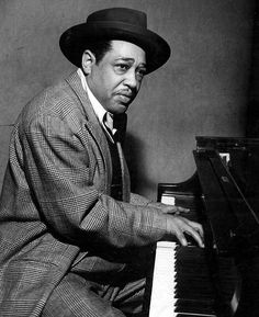 Jazz great Duke Ellington at the piano- playing one of his songs for jazz band on the piano! So much fun!!