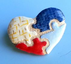 colorful Puzzle Piece Heart Pin   Mosaic Tile Brooch by michemozaix on Etsy, $25.00 #autism