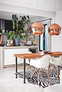 Kitchen | White | Copper pendants  Open plan | Industrial chic | Modern | Livingetc