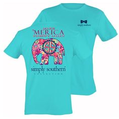 """This t-shirt features the signature Simply Southern print on a pool blue shirt with the statement """"Make 'Merica Preppy Again""""."""
